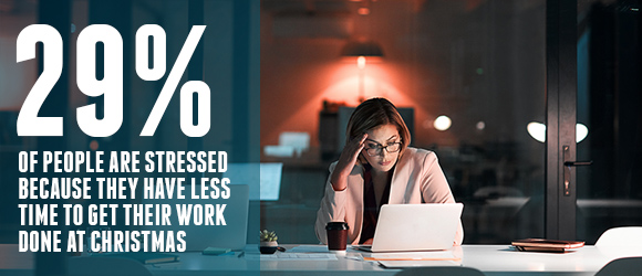 29 PERCENT OF PEOPLE ARE STRESSED BECAUSE THEY HAVE LESS TIME AT CHRISTMAS TO GET THEIR WORK DONE SODEXO SHINE